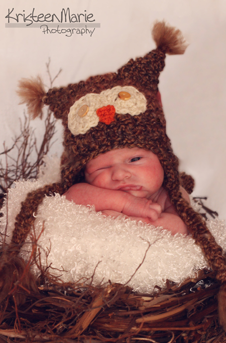 Winking Baby With Owl Hat