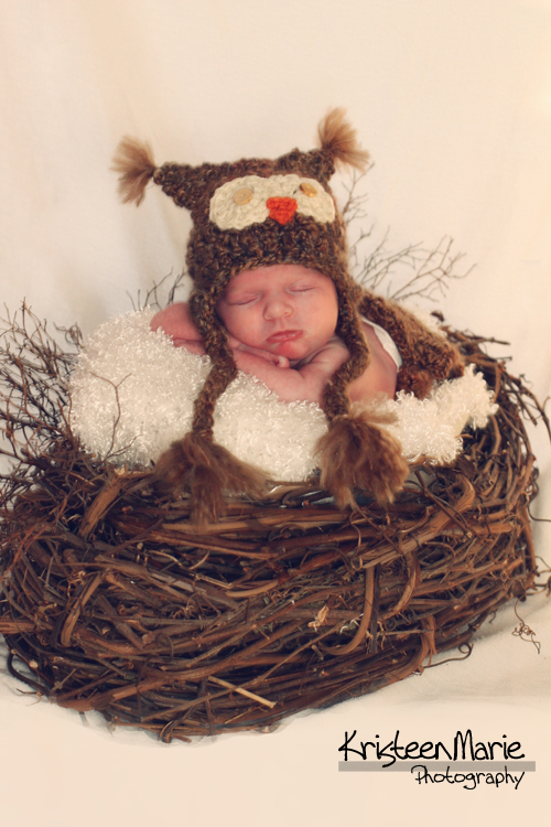 Sleeping Baby with Owl Hat