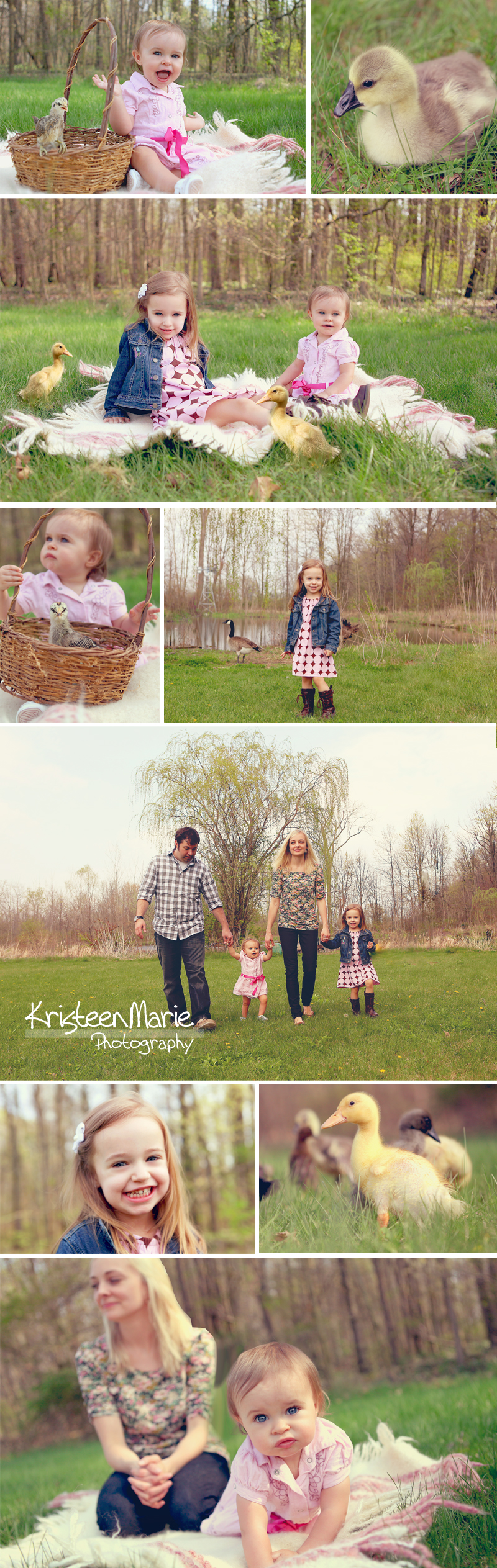 Family Easter Pictures Outside with Chicks