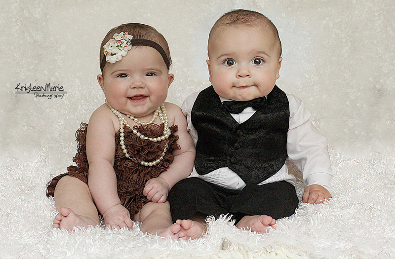 Dressed Up 6 month Old Twins