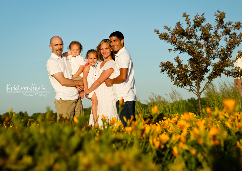 Family in Flower Garden