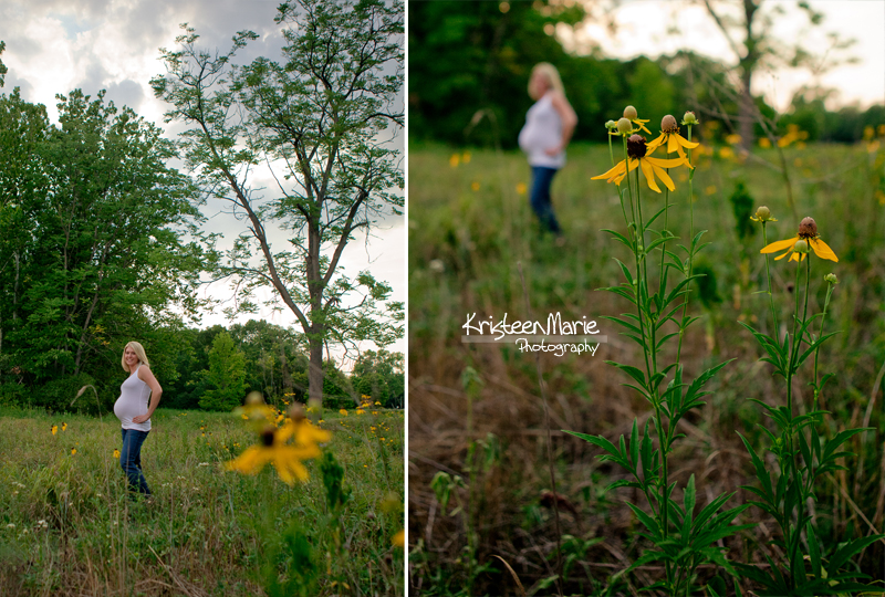 Mother to be in field with yellow flowers