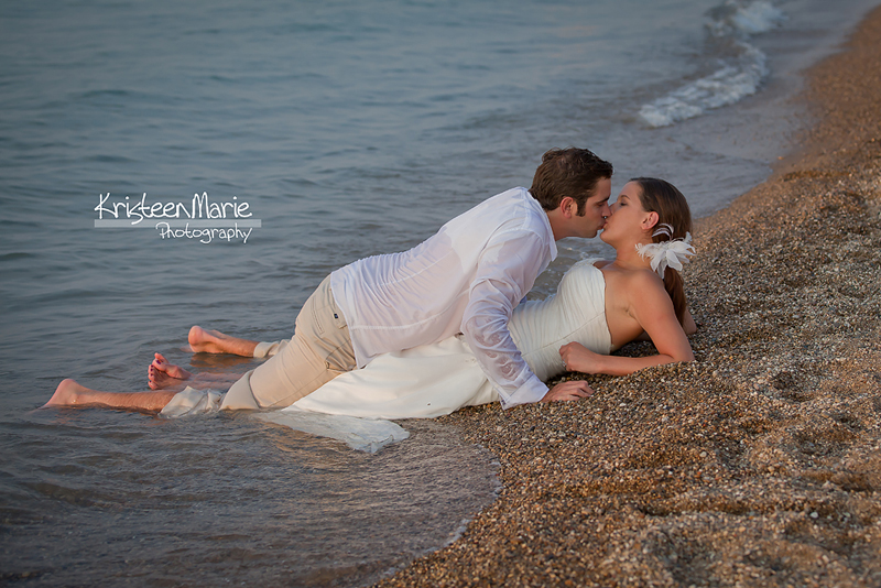 Kissing on the Beach - wedding