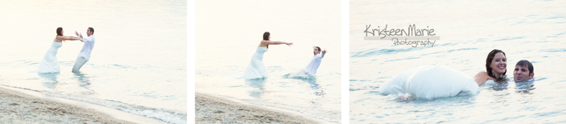 Paying in the water - Bride and Groom