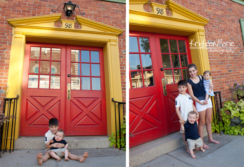 Family infront of fun door
