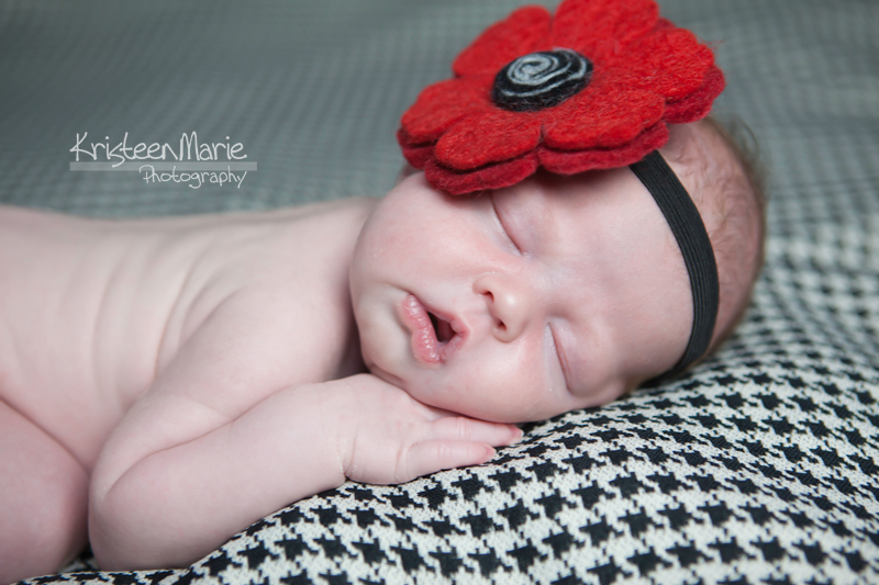 Newborn with Giant Red Flower Headband