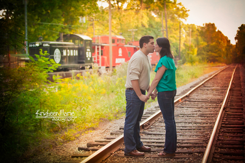 Kissing on the Railroad Track in Fall