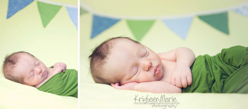 Newborn with Banner Flag Backdrop