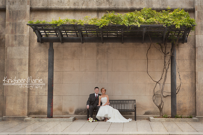 Bride and groom on canal downtown Indianapolis