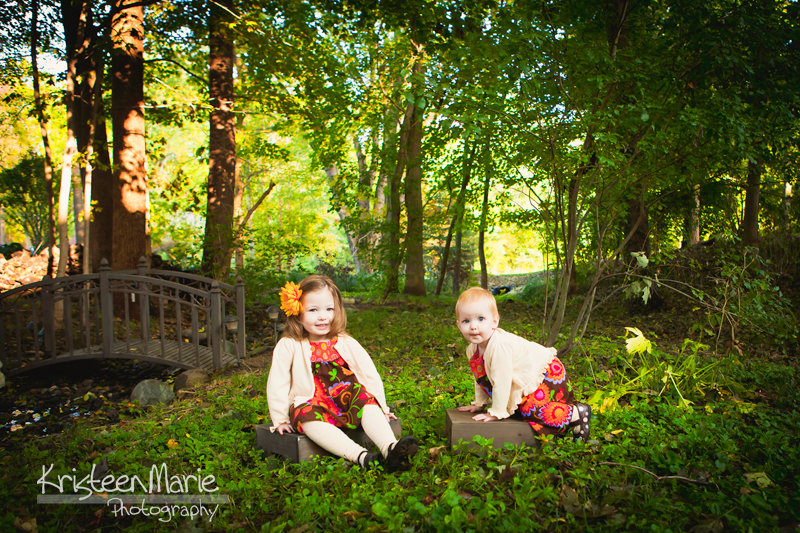 Two little girls backlit