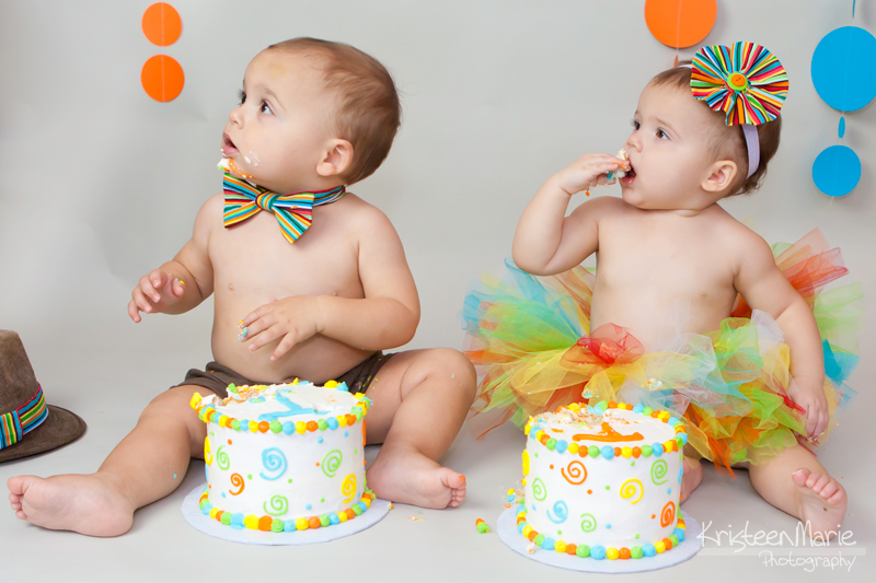 Boy and girl twin cake smash