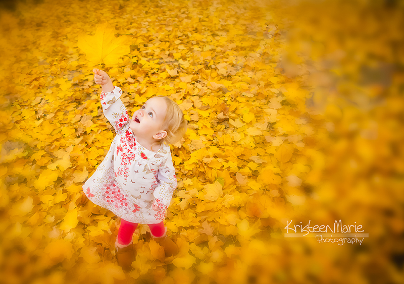 little kid playing in leaves