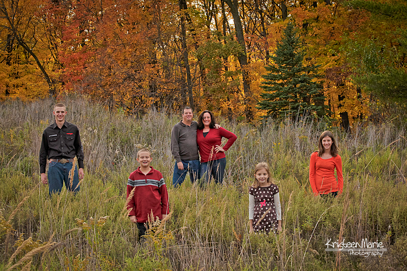 Large Family in Field during Fall