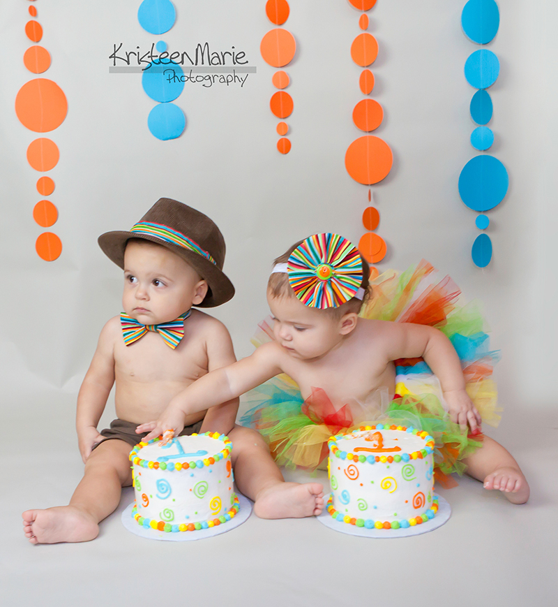 twin cake smash photography