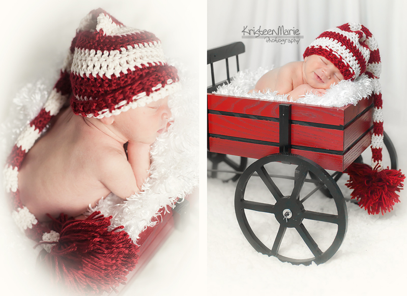 Newborn boy in Christmas Hat