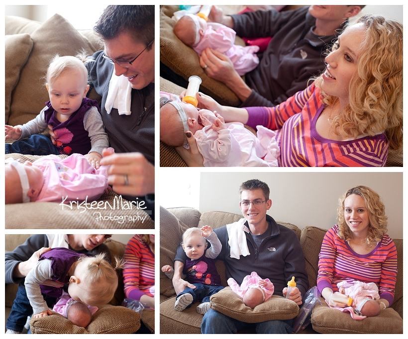 Lifestyle photography with newborn triplets