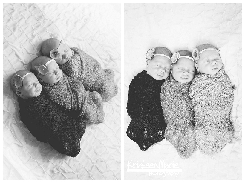 Newborn Triplet Girls in Black and White