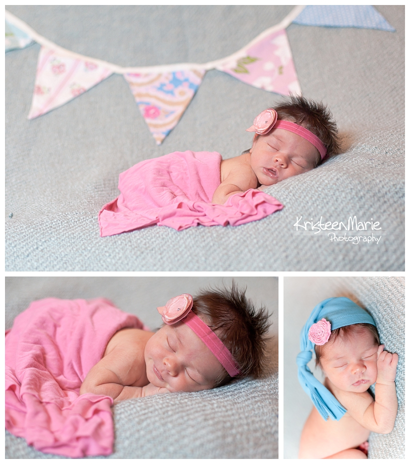 newborn baby girl in pink in teal