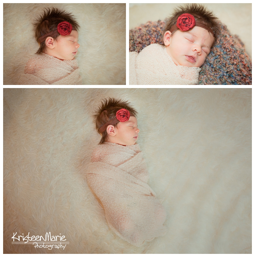 Newborn girl in tan and red