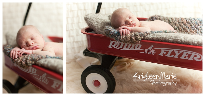 Newborn baby in Radio Flyer Wagon