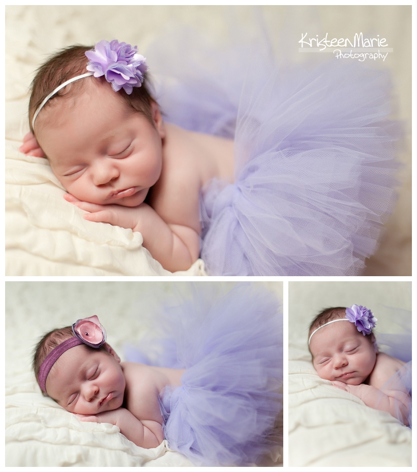 Newborn in purple tutu