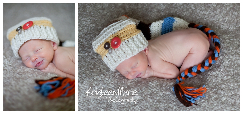 Newborn in hat made by grandma