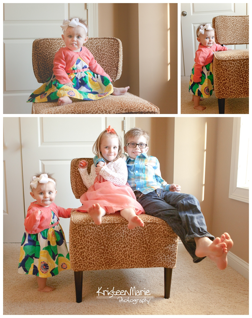 Kids on fun chair in home