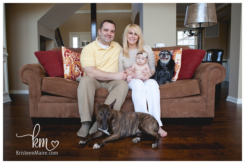 family picture with baby and dogs