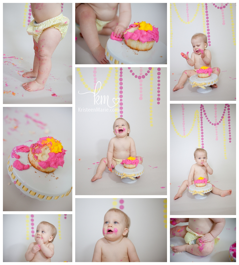 1 year cake smash pictures pink and yellow