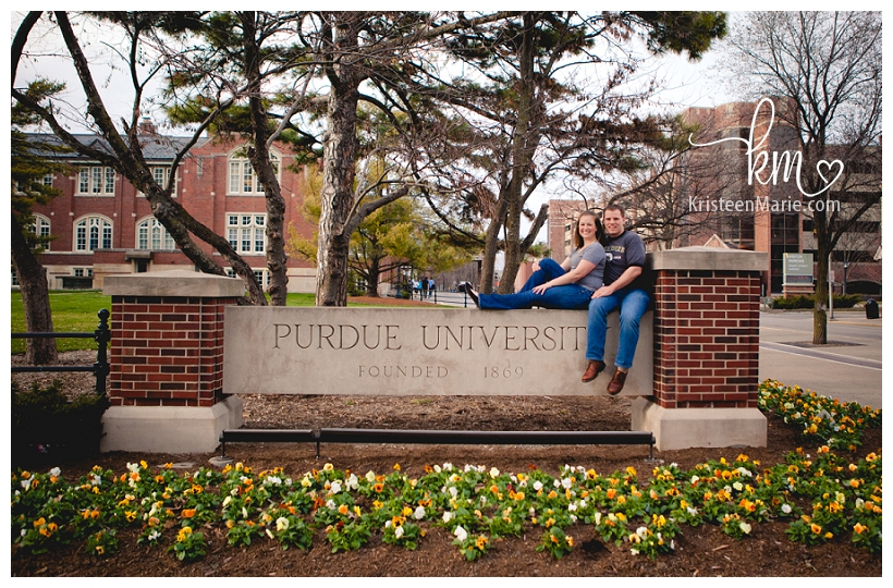 Purdue University Sign with Engaged Couple