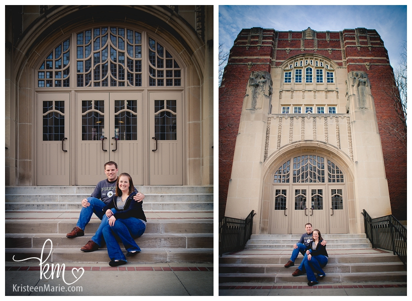 Couple in front of Purdue Memorial Union