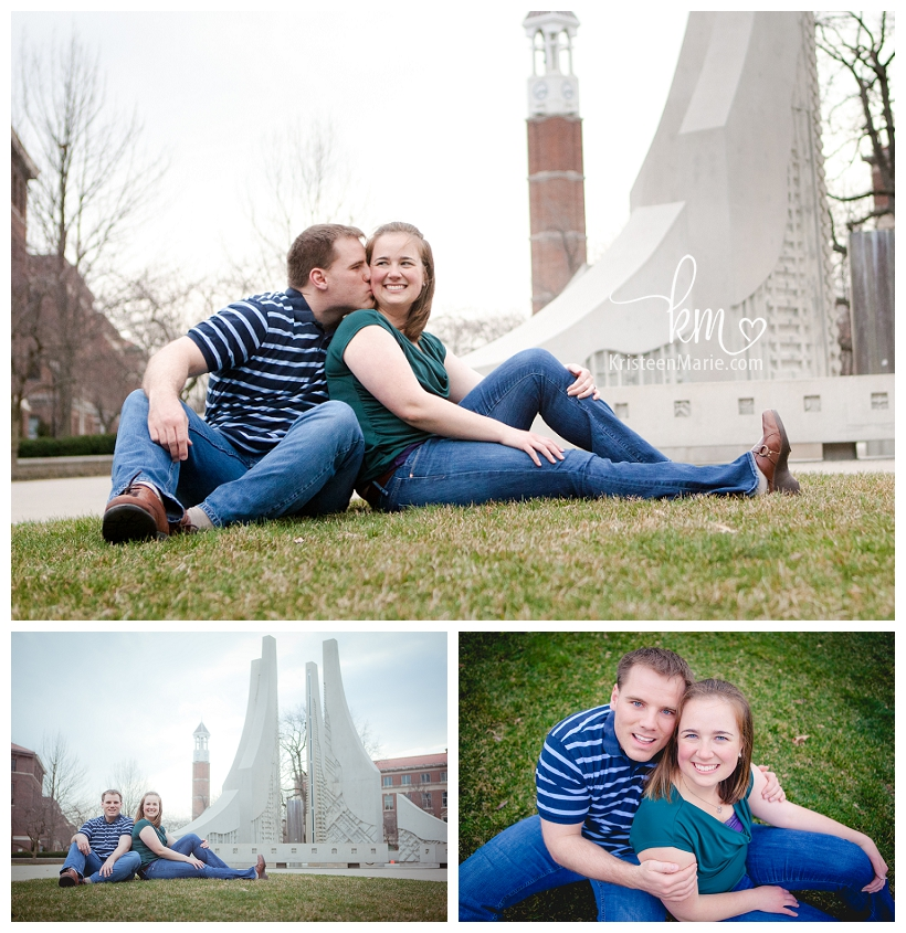 engineering fountain at purdue with engaged couple