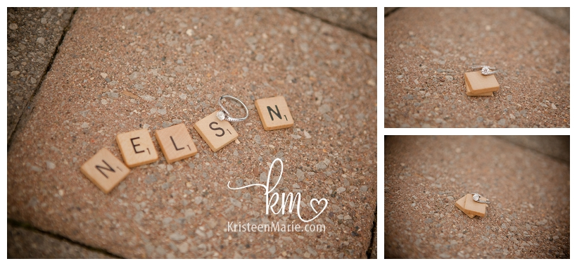Engagement ring and Scrabble pieces