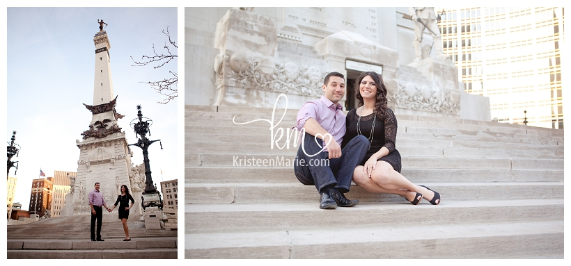 on the Circle in Indianapolis engagement picture
