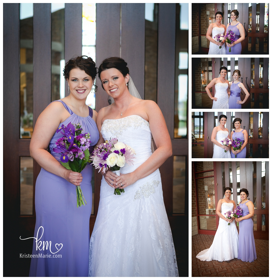 Bridesmaids in long purples dresses