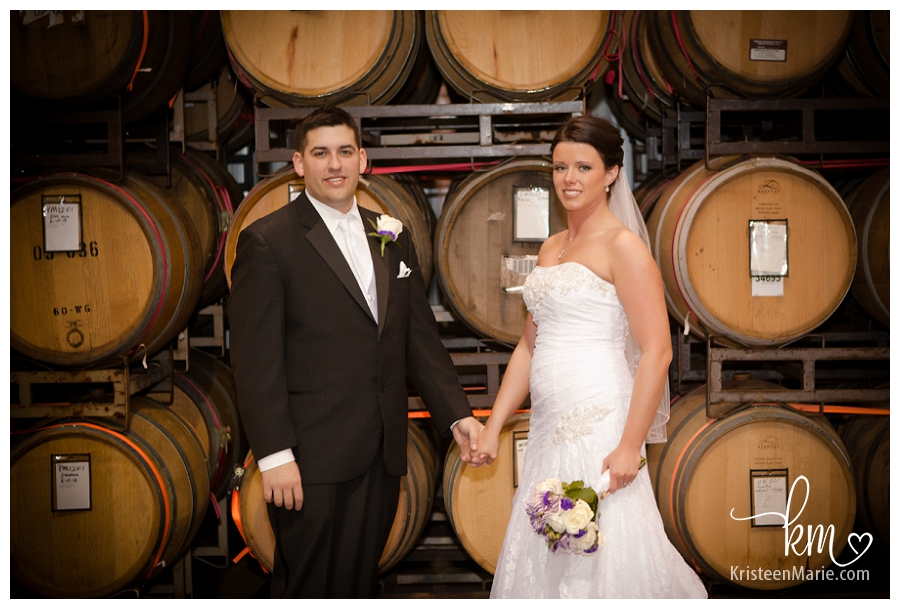 Bride and groom in winery