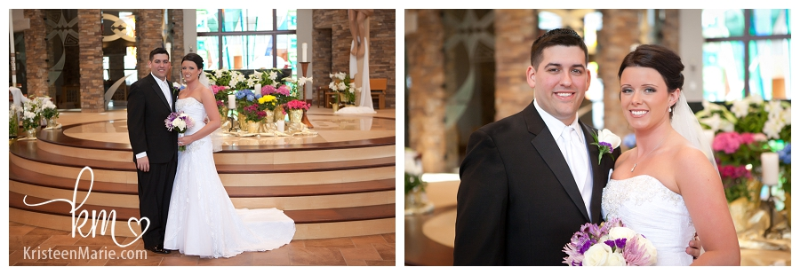 Formal bride and groom picture in the church
