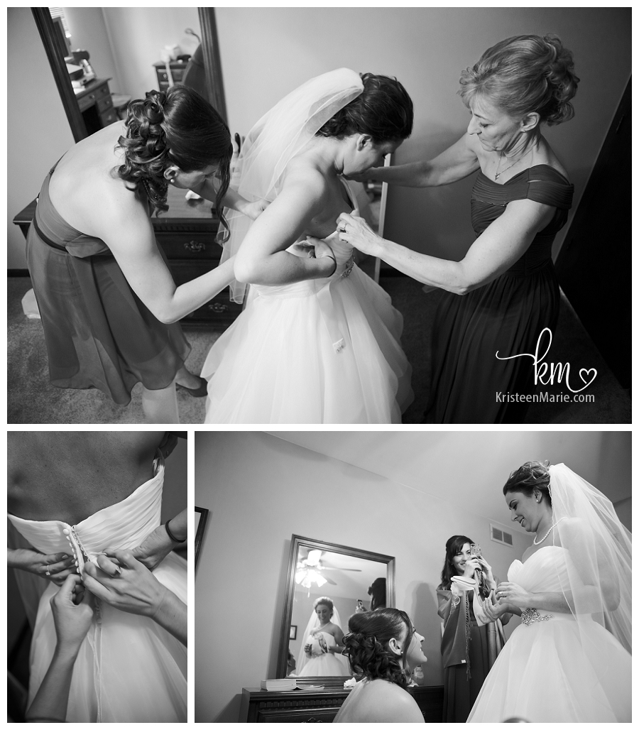 Bride Putting her wedding dress on