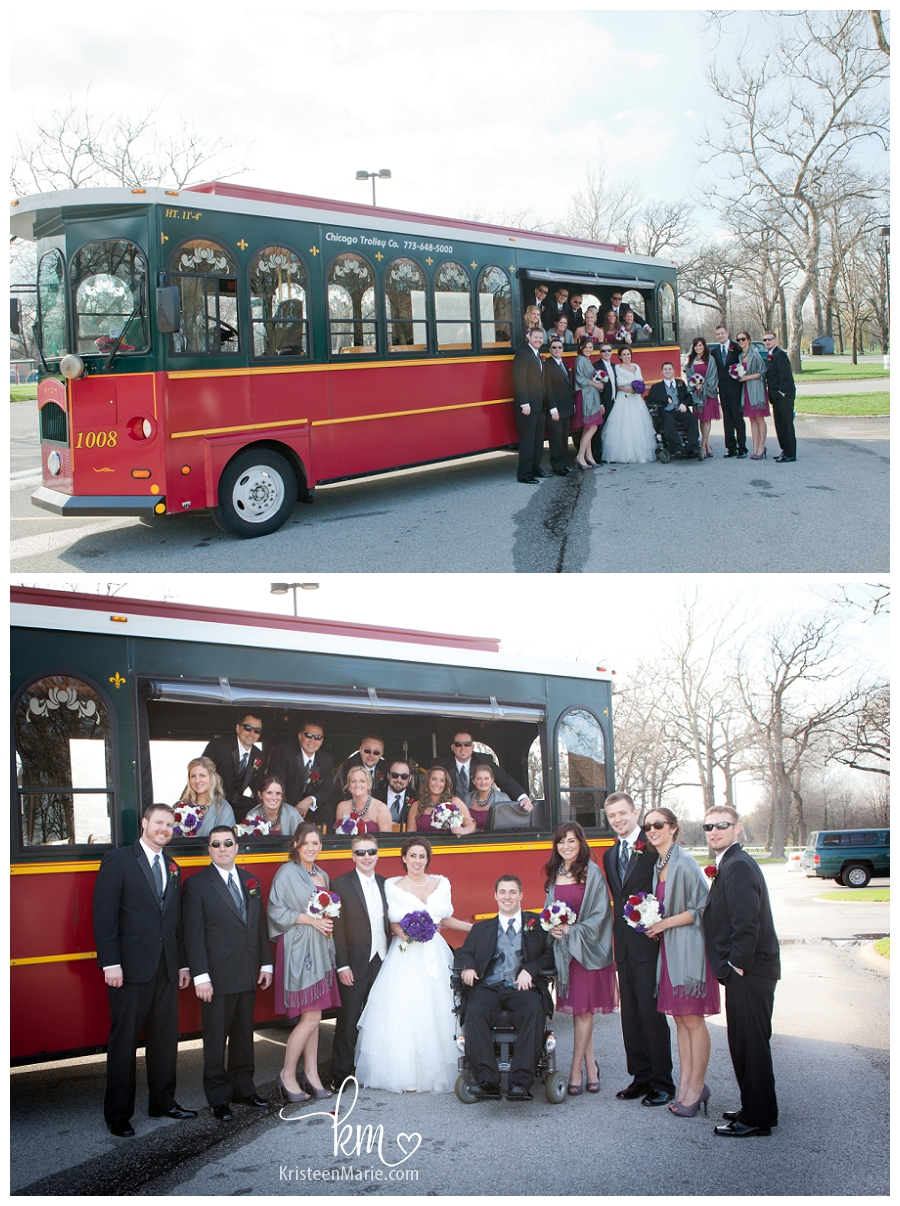Bridal party in trolley