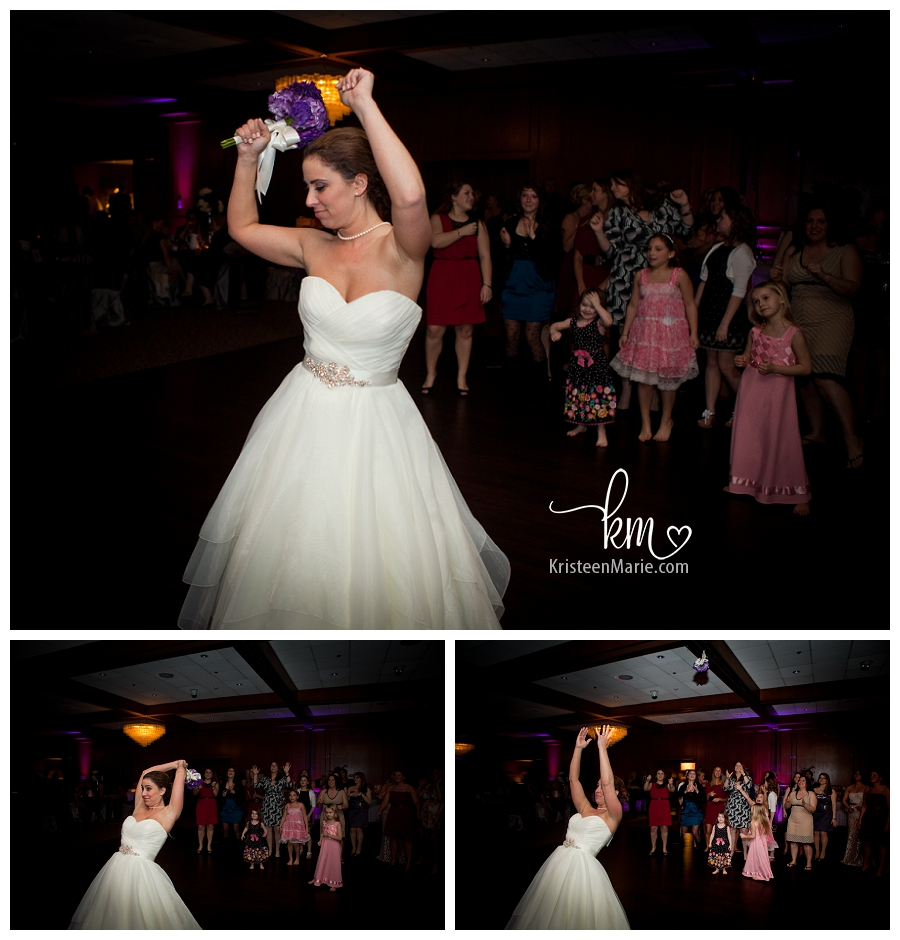 Bride tossing flowers