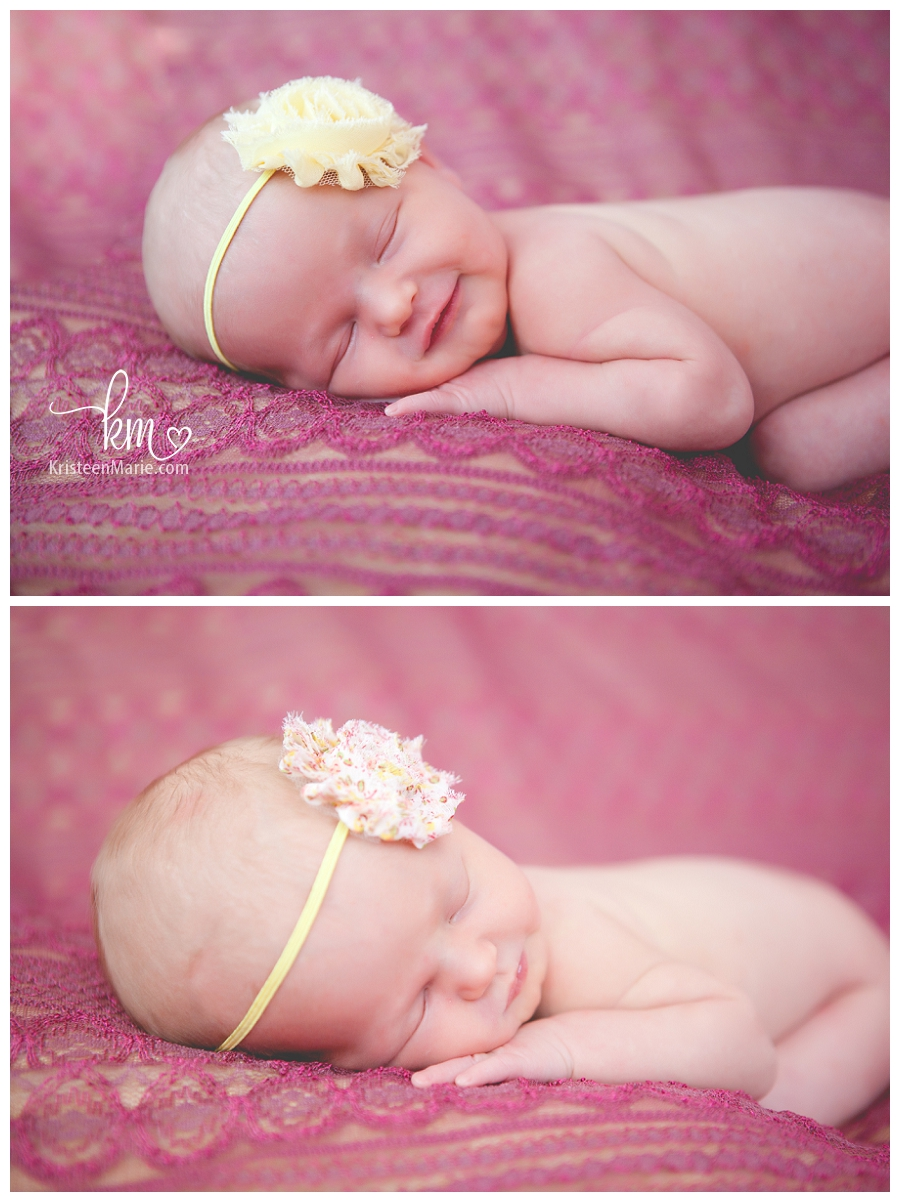 newborn girl in pink and yellow