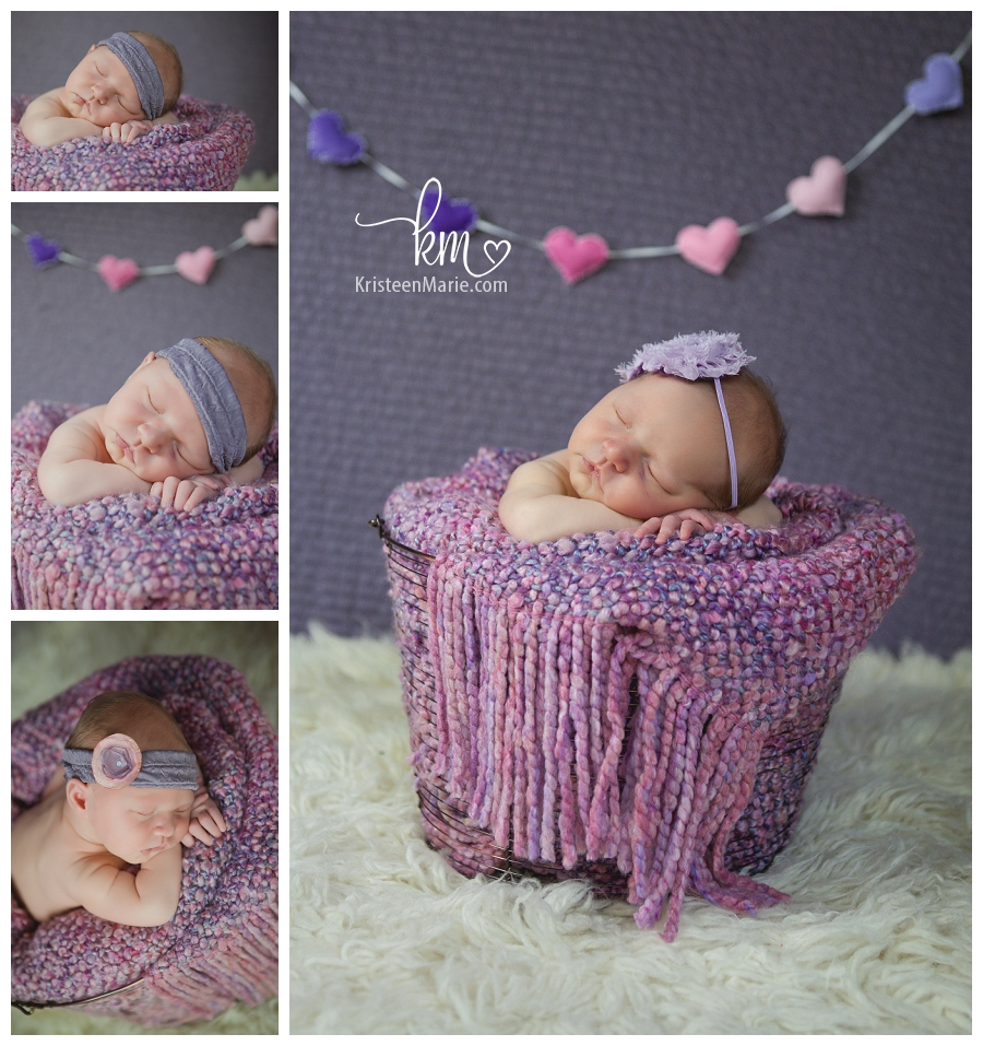 baby girl in purple basket