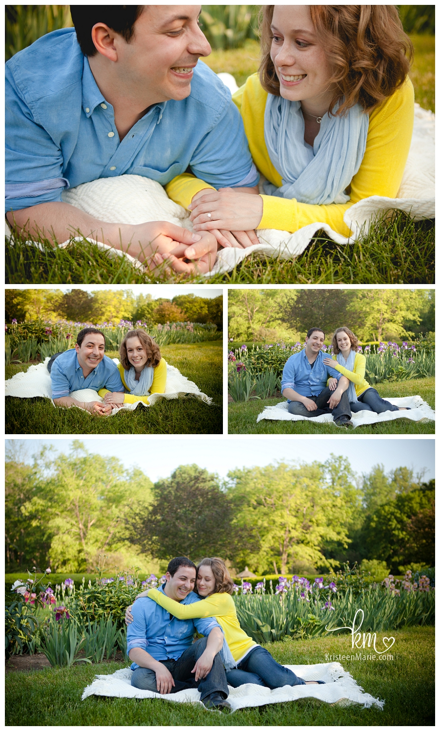 engagement picture on blanket in garden