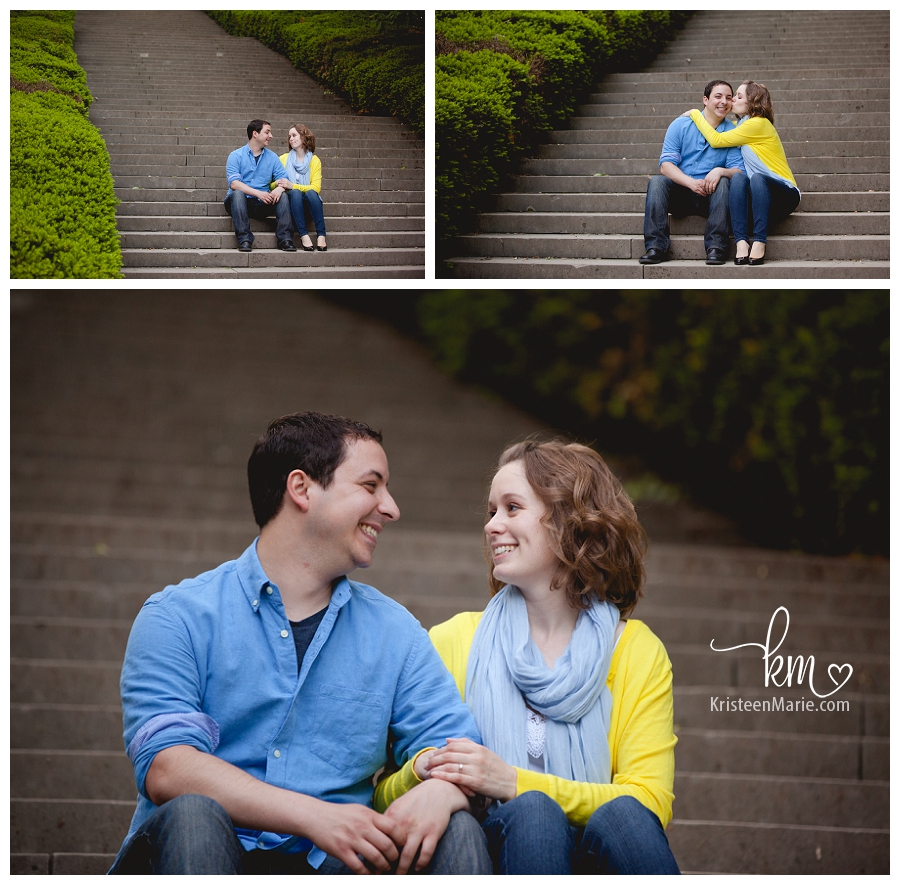 Engagement picture in blue and yellow