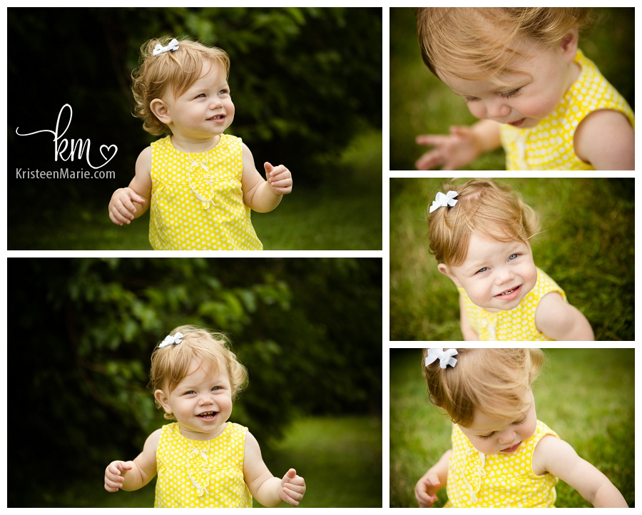 one year old girl in yellow