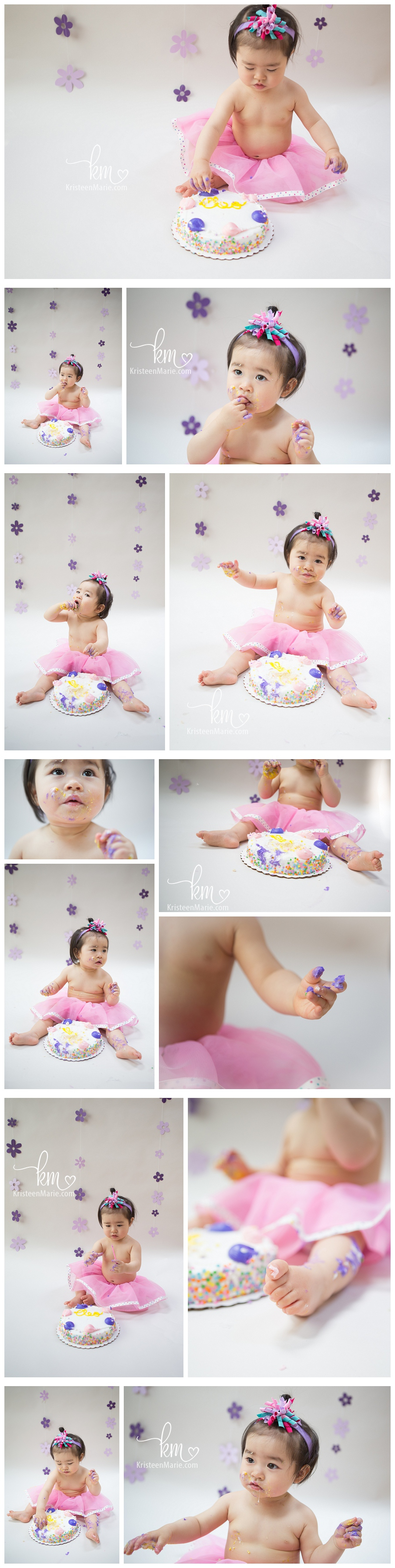 Pink and yellow cake smash photography