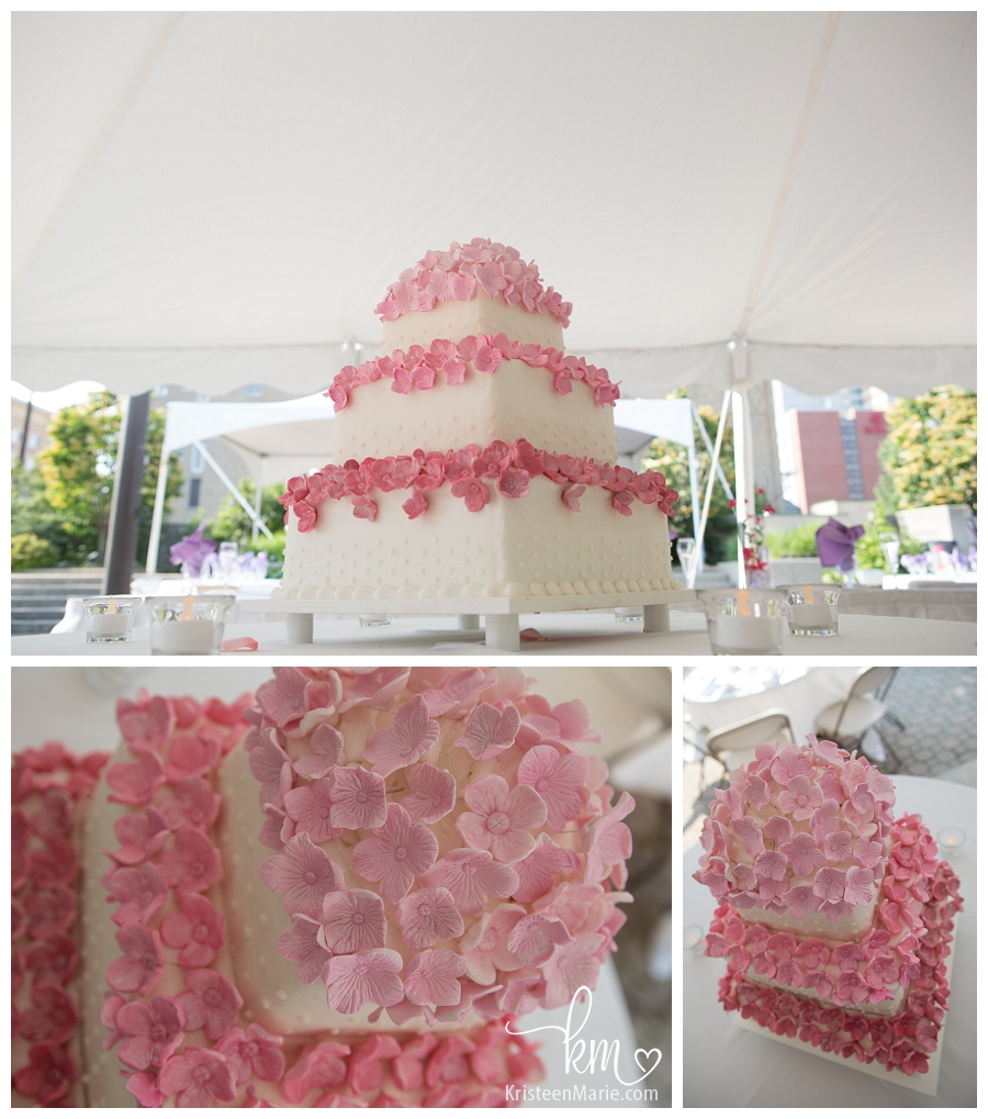 wedding cake with pink sugar flowers