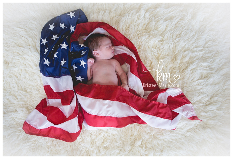 Newborn in american flag