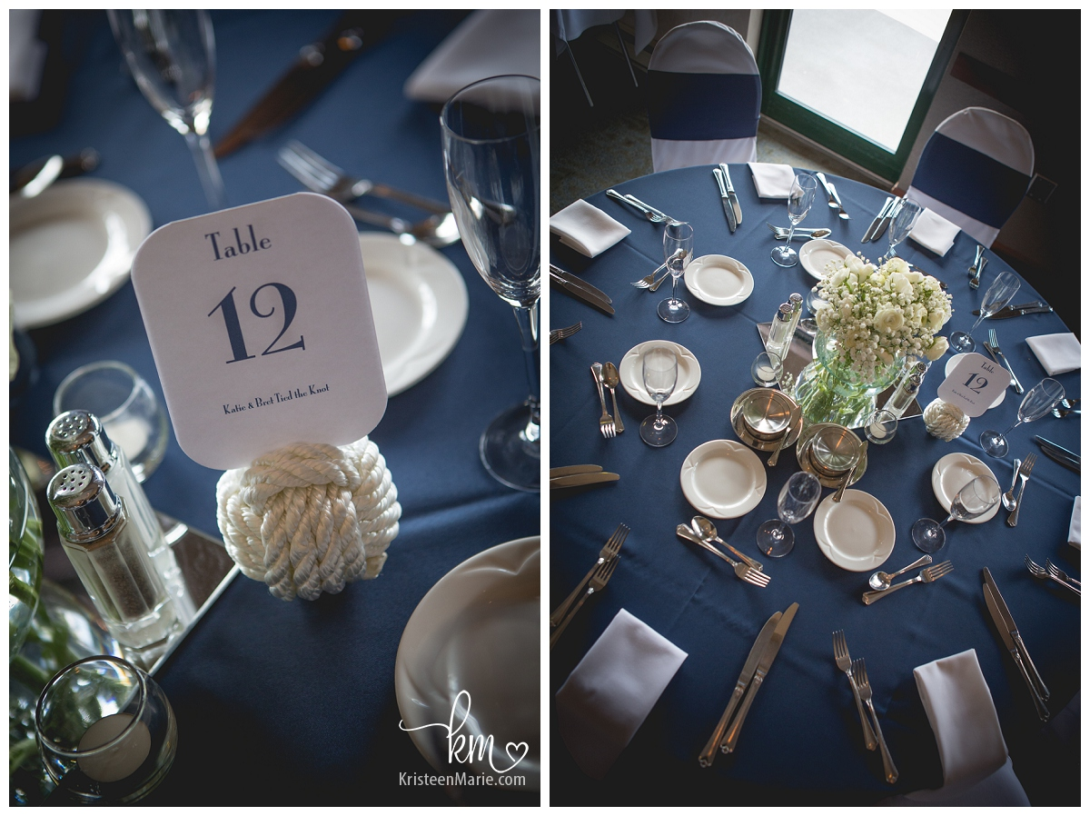 Wedding tables nautical themed