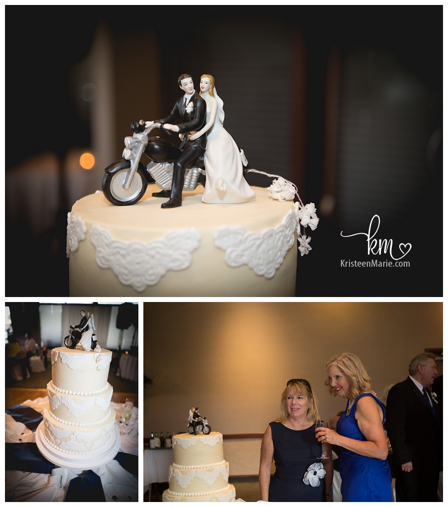 bride and groom on motorcycle cake toppers